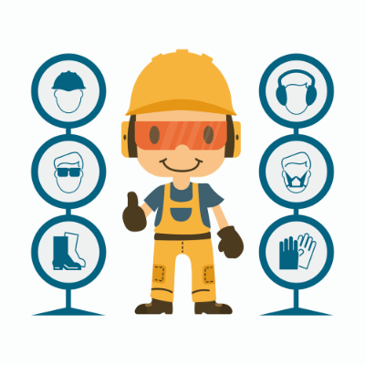Animated character showing construction safety elements