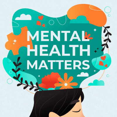 Mental health matters wording floating above top of dark haired persons head